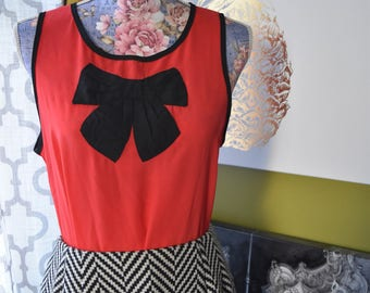 Secretary Chic Bow Blouse in Tomato Red