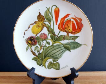 The Sierra Club's New England Wildflowers Collectible Plate, 1978, Bavarian Porcelain, Franklin Porcelain