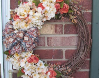 Gorgeous Hydrangea and Eucalyptus Front Door Wreath, Perfect for Spring or Fall, Front Door Wreath, Wall Decor, Gift for Mom, Gift for Her