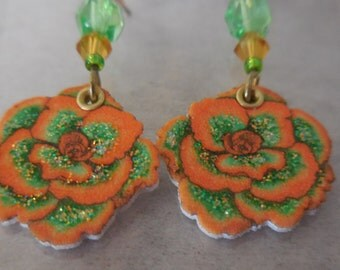 Lovely Orange Gardenia Earrings