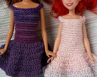 Crochet dresses for 12 inch fashion doll