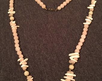 Vintage Rose Quartz Bead Necklace - 30 inches