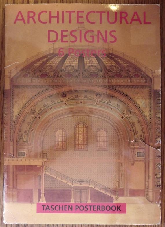 """Architectural Designs Taschen Posterbook 1995 12"""" X 17"""" Folio Folder & 6 Posters Paris, Moscow, Tokyo, Darmstadt, Vienna"""