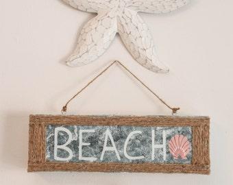 Beach Sign, Beach Home Decor, Beach Wall Sign, Beach Wall Decor, Nautical Decor, Seashell Sign, Ocean Decor, Ocean Home Decor, Nautical Sign