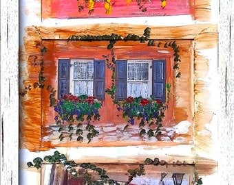 Charleston Windows Painting (Matted and Framed)