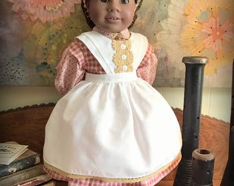 Red Civil War Era Dress, Apron and Pantaloons for 18 Inch Dolls (such as American Girl and other similarly-sized dolls)
