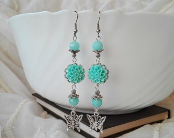 Blue Amazonite Earrings, Floral Earrings, Dangle Earrings, Chandelier Earrings, Flower Earrings, Long Earrings, Gemstone Earrings