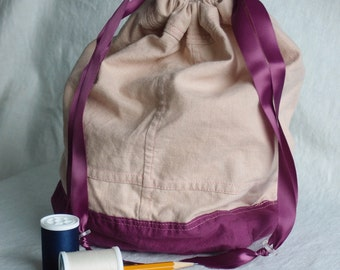 Small Fabric Bag with drawstring - Project bag, gift bag . . .