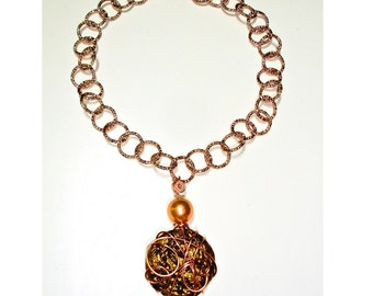 Copper necklace with ceramic pendant, gift for her