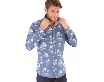 Mens 100% Cotton Long Sleeve Slim Fit Shirt Grey Tropical Island Print