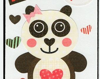Bear Love Valentine Paper Piecing Premade Scrapbook Card