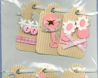Baby Girl Tags  Forever In Time Scrapbook Embellishments Cardmaking Crafts