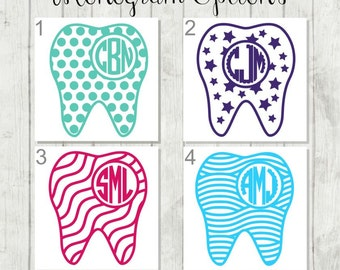 Tooth Monogram Decal, Tooth Decal, Dentist Decal, Dental Assistant Decal, Gift for Dentist, Dental Hygienist Decal, Tooth Tumbler Decal