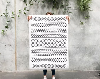 Kilim: A0 Poster / Hand Drawn Pattern Print / Moroccan Rug Inspired / Huge Wall Art / Big Paper Wall Hanging / Black & White Printed Poster