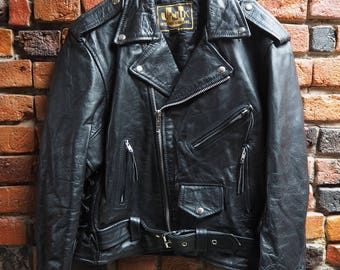 Women's 90s Black Leather Jacket Perfecto With Waist Belt, Silver Zips And Buttons Size Large