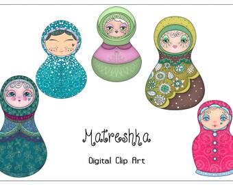 Matreshkas Clip Art Set 5 Printable cliparts , PNG, 300 dpi, format A5. Instant Download.