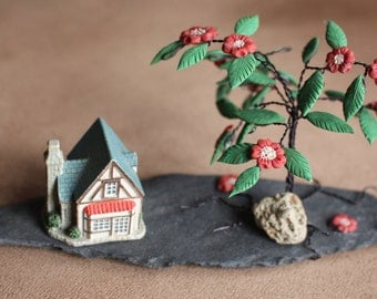 Wire Wrapped Flower Bush with Ceramic House
