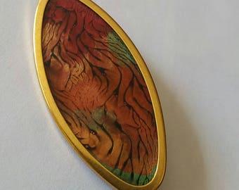 Vintage Uhlig Glass Front Hand Painted Oval Brooch Framed in Gold Tone, UHLIG, Vintage Brooch, Vintage Pin, Warm Tones, Gold Tone Brooch
