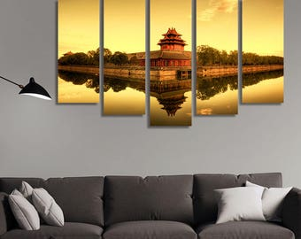 LARGE XL The Forbidden City in Beijing, China at Sunset Canvas Print Emperor City in China Canvas Wall Art Print Home Decoration - Stretched