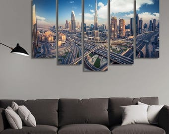 LARGE XL Dubai Skyline Canvas Print City Traffic Daytime Canvas Highway City Junction Canvas Wall Art Print Home Decoration - Stretched
