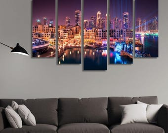 LARGE XL Dubai Downtown at Night Canvas Dubai, United Arab Emirates Canvas Print City Nightlife Wall Art Print Home Decoration - Stretched