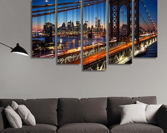Manhattan Print, New York City Wall Art, New York City Canvas, Brooklyn Bridge Print, New York City Skyline, Stretched Canvas Art
