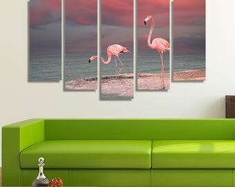 LARGE X Link Flamingos Canvas Print Water Pool Pink Sunset Canvas Romantic Nature Canvas Wall Art Print Home Decoration - Stretched