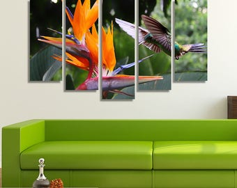 LARGE XL Flying Hummingbird Canvas Print Strelitzia Flower Canvas Colorful Wild Nature Canvas Wall Art Print Home Decoration - Stretched