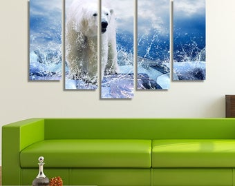 LARGE XL Polar Bear Canvas Print White Bear Splash of Water Drips Hunter Arctic Ice Winter Canvas Wall Art Print Home Decoration - Stretched