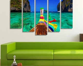 LARGE XL Maya bay on Koh Phi Phi Leh Island Krabi Southern Thailand Canvas Wall Art Print Home Decoration - Framed and Stretched - 4009