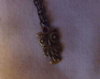 Bronze Feathery Owl Pendant Necklace