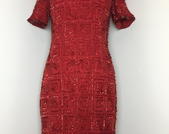 Vintage Red Sequence/Beaded Silk Dress from 1980s by Beaded Drama Special Occassion