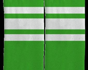 Green Striped Crew Socks - Striped Socks - Green Socks - 100% Comfort - FREE Shipping