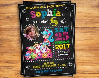 Shopkins Invitation, Shopkins Invite, Shopkins Birthday, Shopkins Party, Personalized, Printable, Digital file