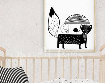 Childrens Wall Art, Black and White Nursery Art, Woodland Creatures, Turtle Art, Scandinavian Nursery Wall Decor, Poster Child, Animal Print