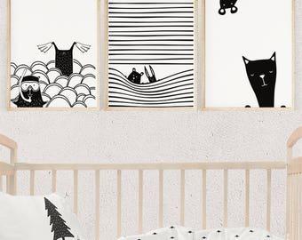 Black and White Nursery Wall Art, Scandinavian Illustration, Bear Print, Nursery Decor, Kids Poster, Printable Gift, Digital Download