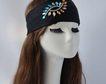Crystal Rhinestone Yoga Headband Summer Running Headband Hippie Headband Boho Turban  Wide Headband Floral No Slip Women Headband  Blue