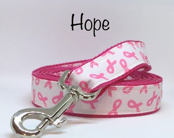 Pink Ribbon Dog Leash