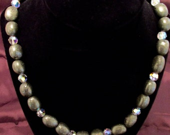 24 Inch Pyrite Necklace with 8mm swarovski crystals and goldfilled clasps