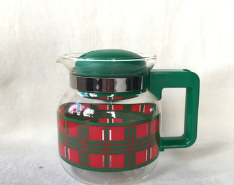 70 's vintage tea pot of glass, red and green check