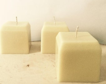 All Natural Scentless Pure Beeswax Modern Cube Geometric Pillar Candle Cotton Wick
