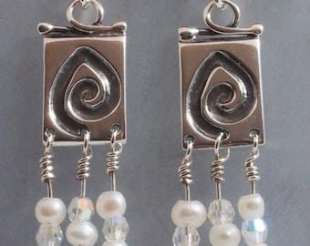 Sterling Silver, fresh water pearl, swarovski crystal Koru earrings
