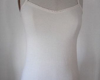 Camisole with V-neck and lace trim, 100% USA organic cotton - no dye or synthetic