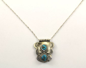 Vintage Navajo Turquoise Stone Necklace 925 Sterling Silver NC 408