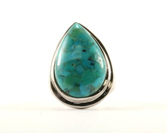 Vintage Women's Pear Shape Turquoise Ring 925 Sterling Silver RG 1911-E