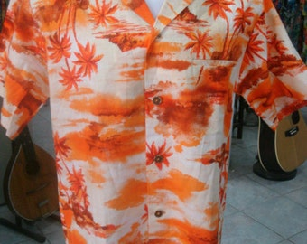 75- Fashions by Myra Aloha Hawaiian shirt Large heavy cotton Made in Hawaii metal buttons Selvage Big collar