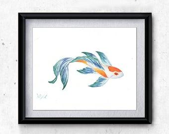WATERCOLOR PAINTING PRINT, koi, watercolor print, oriental painting, beta, fish, watercolor fish, original painting, koi fish, restaurant