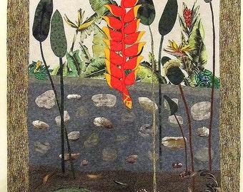 In the Tropics, Art Quilt for Sale, Wall Hanging, Homemade Quilt for Sale, Handmade Quilt, OOAK, Multi-media, Original Design