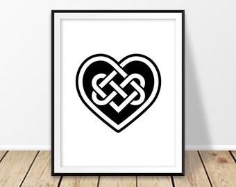 Wall decor prints, Irish art, Irish wedding, Celtic knot print, Love wall art, Heart shape, St Patricks Day, Ireland decor, Download black