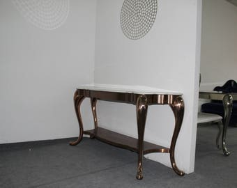 Solid Rose Gold Furniture,Stainless Steel,Entryway Table, Console Table, Sofa Table, 18'' by 59'', Custom Design, Craftmanship, Handmade